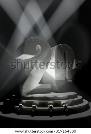 Night Anniversary Scene with TWENTY on pedestal - stock photo