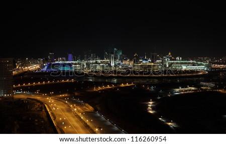 Night Astana. downtown - stock photo