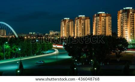 Night Astana, Kazakhstan - stock photo