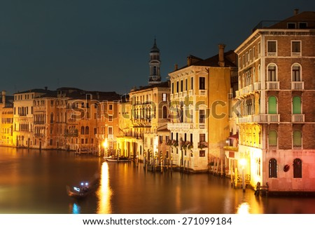 Night at Grand canal in Venice, Italy. - stock photo