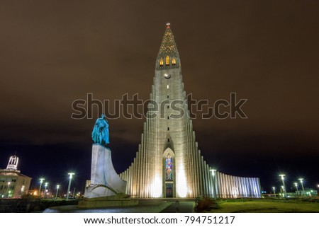 Night at Hallgrimskirkja, (Church of Hallgrimur), a Lutheran (Church of Iceland) parish church in Reykjavik, Iceland. It is the largest church in Iceland.v