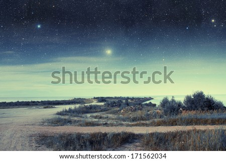 night at sea. Elements of this image furnished by NASA  - stock photo