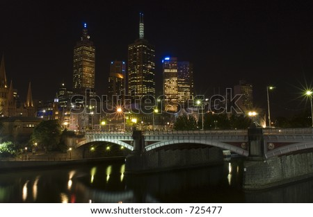 Night at Yarra river in the city of Melbourne in Australia