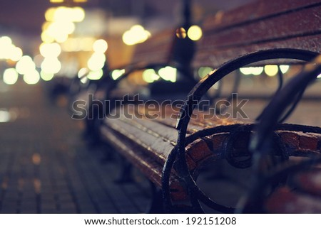 night, autumn bench city - stock photo