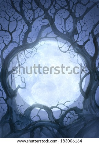 Night background with crooked trees and moon - stock photo