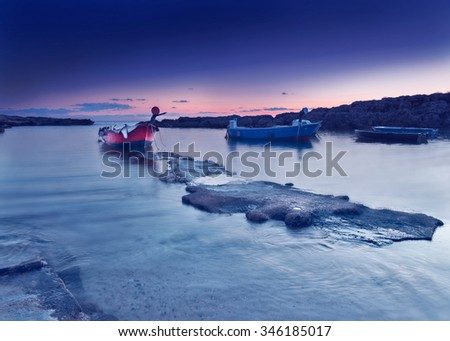 night beach after sunset. Purple sky.  sea landscape at twilight