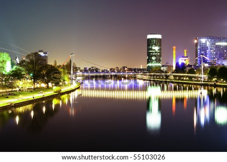Night bridge and city scape with beautiful sky