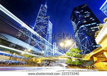 night busy traffic in the hong kong downtown city  - stock photo