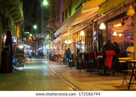 night cafe in the narrow streets of Istanbul