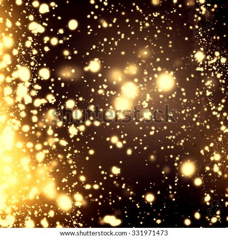 Night Christmas  background - abstract  glittering stars on bokeh background. Black and golden colors