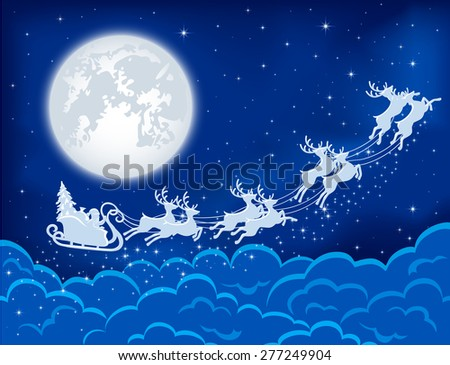 Night Christmas background with Santa, deers and moon, illustration. - stock photo