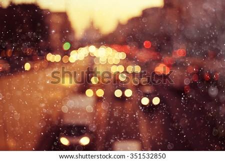 Night city background, blur background Road - stock photo