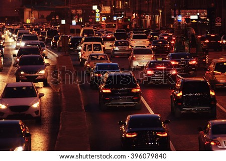 Night city background, blur background Road
