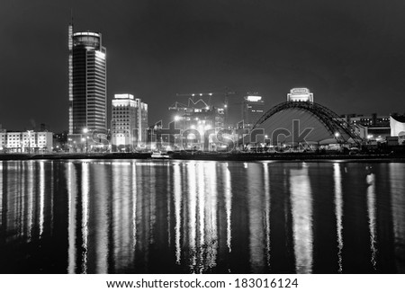 Night city. Belarus. Minsk. White and black - stock photo