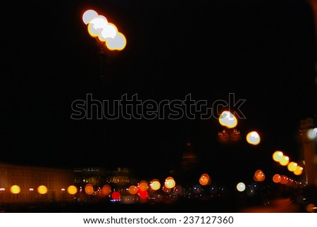 Night city, blurred lights. Abstract composition.  - stock photo