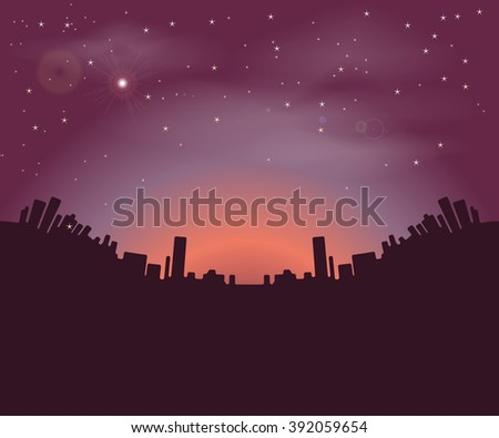 Night city buildings silhouettes on a background of the night sky and the rising sun. Rasterized version. - stock photo