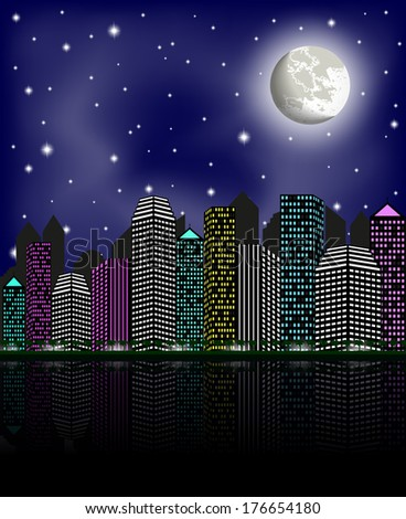 Night city, clear sky and moon. Raster version  - stock photo