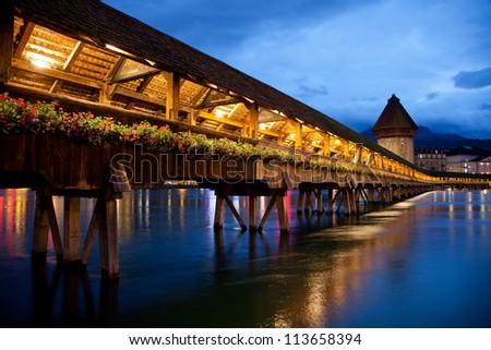 Night city in Switzerland - stock photo