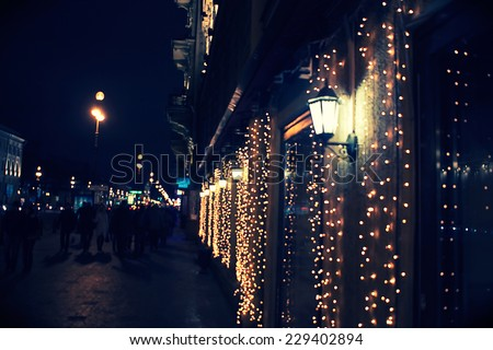 night city in the christmas time - stock photo