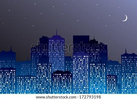 Night city landscape. - stock photo