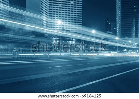 Night city landscape Highway - stock photo