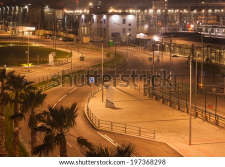 Night city on the Black sea - stock photo