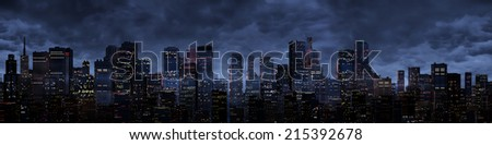 Night city panorama - stock photo