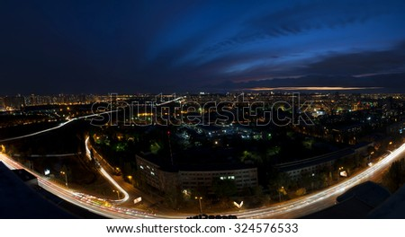 Night city panorama,Kiev,Ukraine, Kharcovskiy