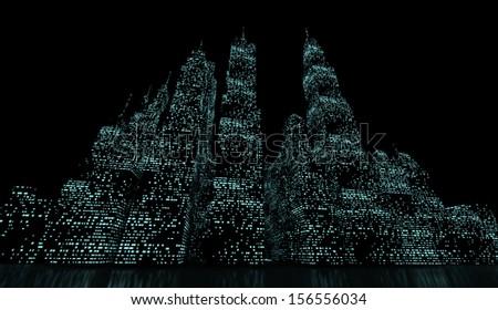 Night city panorama with blue lights - stock photo