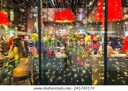 Night city restaurant - stock photo