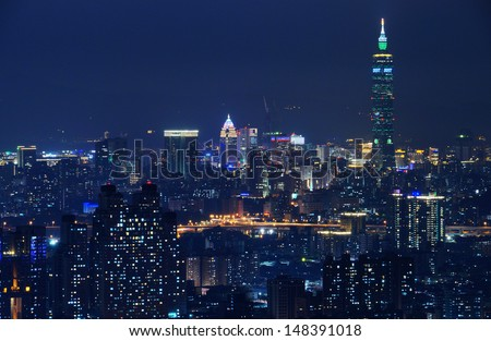 Night city-scape of Taipei city
