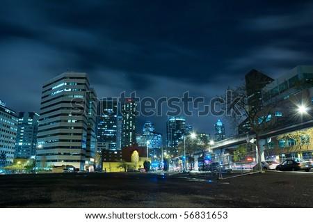 Night city skyline - stock photo