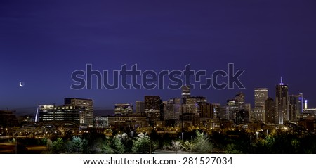 Night city skyline of Denver Colorado - stock photo