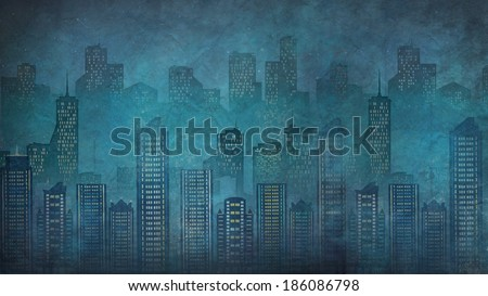 Night city. Skyscrapers.Megalopolis.graphic arts - stock photo