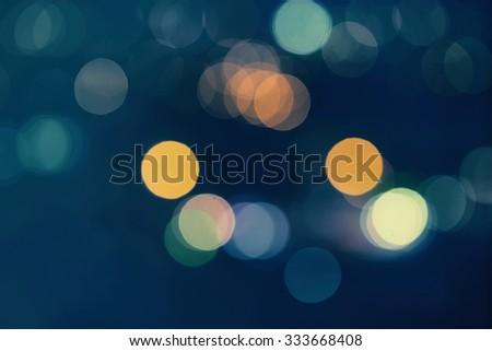 Night city street lights bokeh background - stock photo