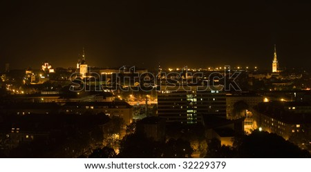 night city Tallin center dusk lights buildings