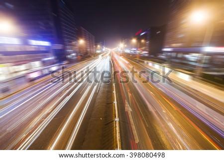 Night city traffic - stock photo