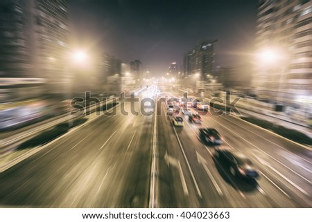 Night city traffic
