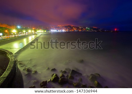 Night city with seascapes