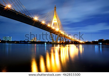 night cityscape at Bhumibol Bridge in Bangkok , Thailand.