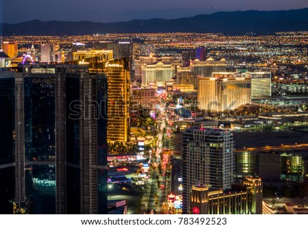 Night cityscape at Las Vegas, Nevada, USA on the 10th of August, 2017