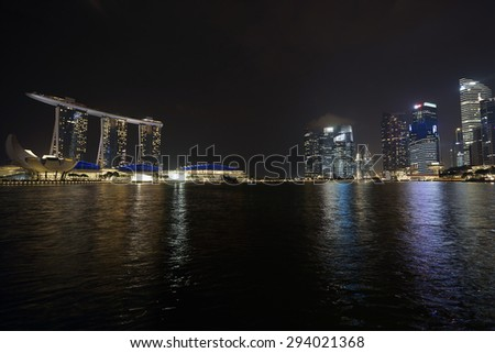 Night Cityscape at Marina Bay Singapore - stock photo