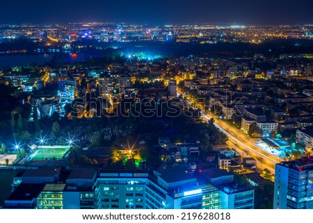 Night cityscape , Bucharest, Romania, cityscape, high view  - stock photo