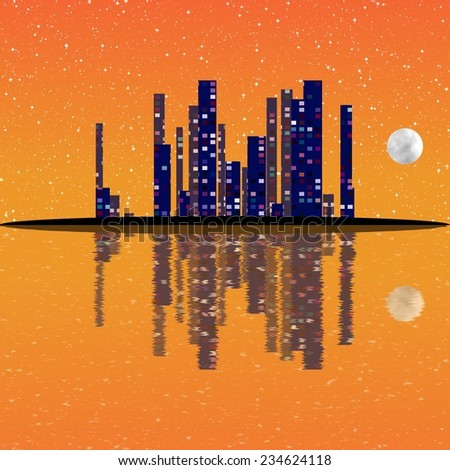 Night cityscape illustration with buildings on island - stock photo