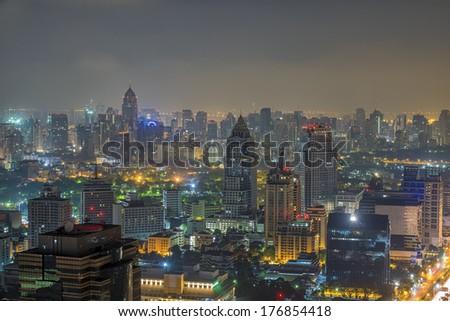 Night cityscape in bangkok - stock photo