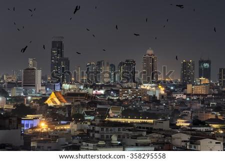 Night cityscape in Bangkok , Thailand . - stock photo