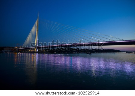 night cityscape of Belgrade new Ada bridge - stock photo