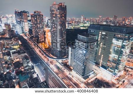 Night cityscape of TOKYO City - stock photo