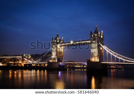 night cityscape with Tower Bridge, London, UK