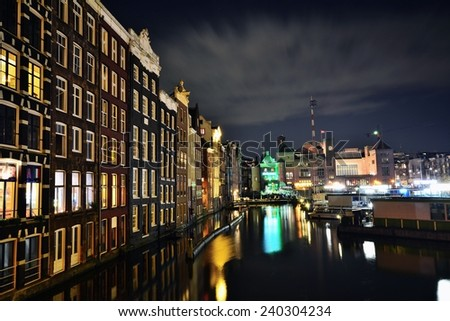 Night cityview of Amsterdam in Netherlands  - stock photo